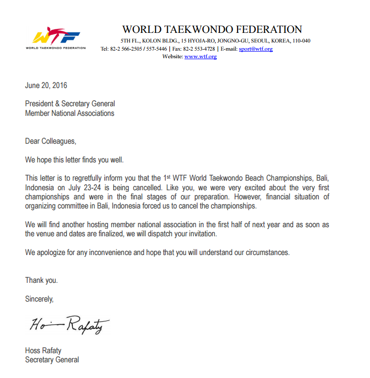 A letter confirming the cancellation of the first WTF World Taekwondo Beach Championships ©WTF