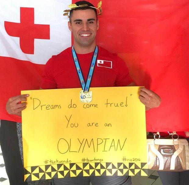 Tonga's Pita Taufatofua celebrates qualifying for Rio 2016 ©Tonga Taekwondo Association