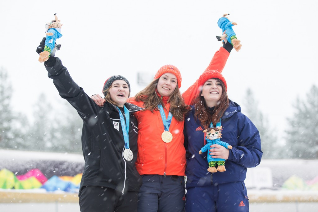 Kelsea Purchall, right, won a bronze medal in the mono bobsleigh at the Winter Youth Olympic Games in Lillehammer in February ©Lillehammer 2016
