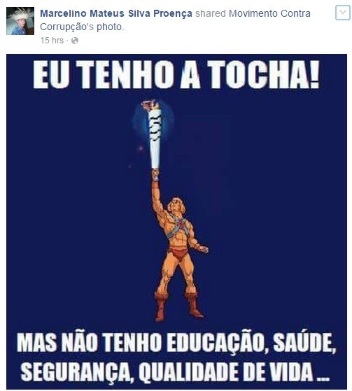 Marcelino Mateus Silva Proença has posted a series of provocative photos about the Rio 2016 Torch Relay in previous weeks befoer trying to throw water over it as it passed through his home town ©Facebook