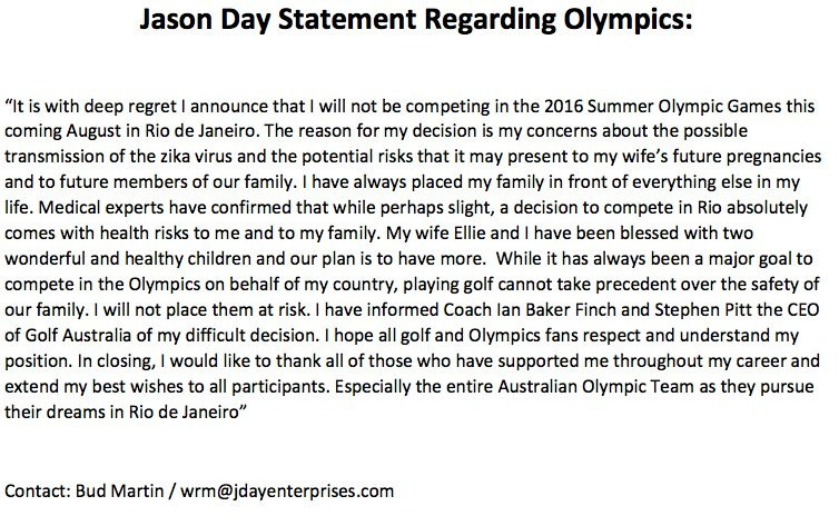 Australia's Jason Day confirmed his decision in a statement released on his Twitter page ©Twitter