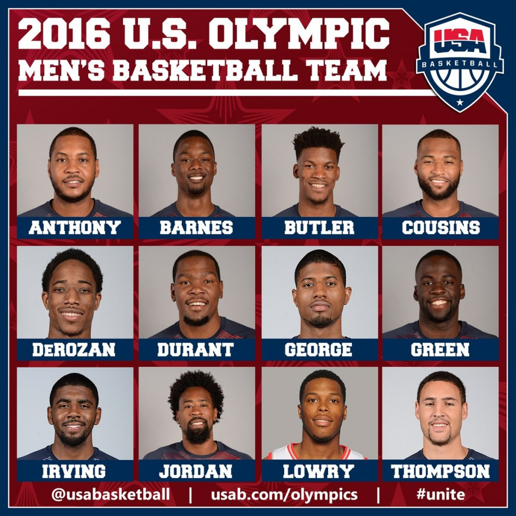 The United States' Olympic men's basketball team is made up of 12 players ©USA Basketball/Twitter