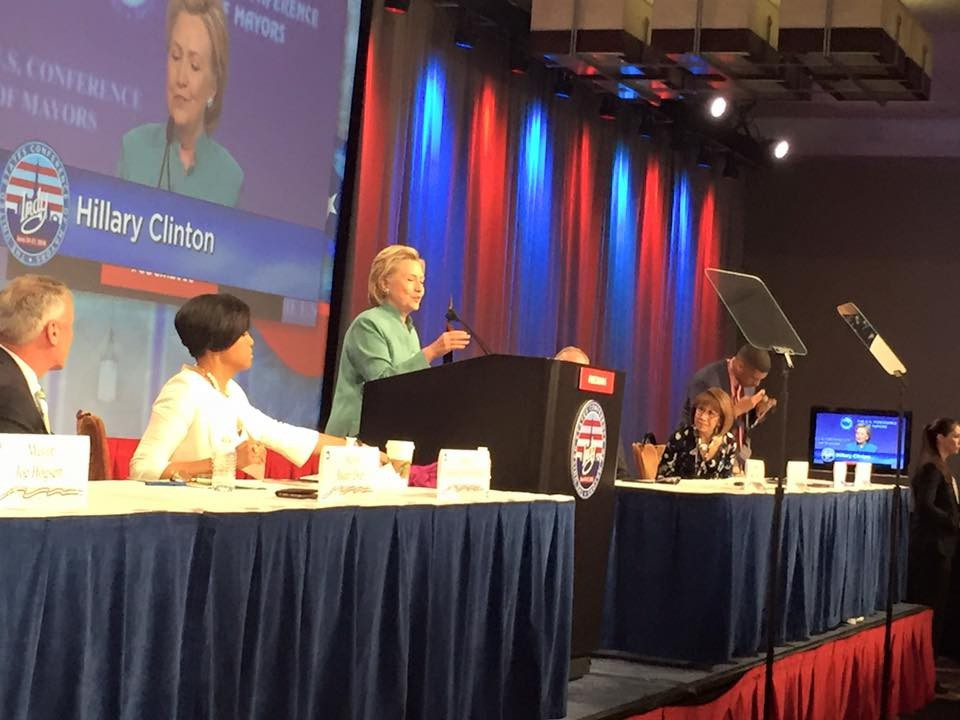 Prospective United States President Hillary Clinton was among the speakers to address the  nited States Conference of Mayors Annual Conference in Indianapolis ©USCM/Facebook