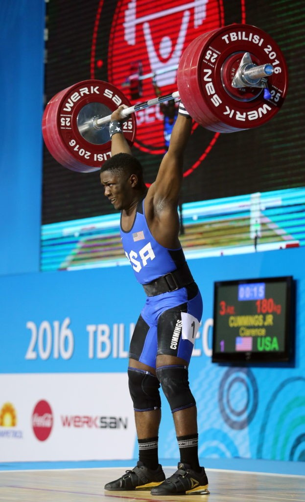 The United States' Clarence Cummings Jr broke the clean and jerk and overall youth world records on his way to winning the men's 69kg gold medal on day three of the IWF Junior World Championships in Tbilisi ©IWF