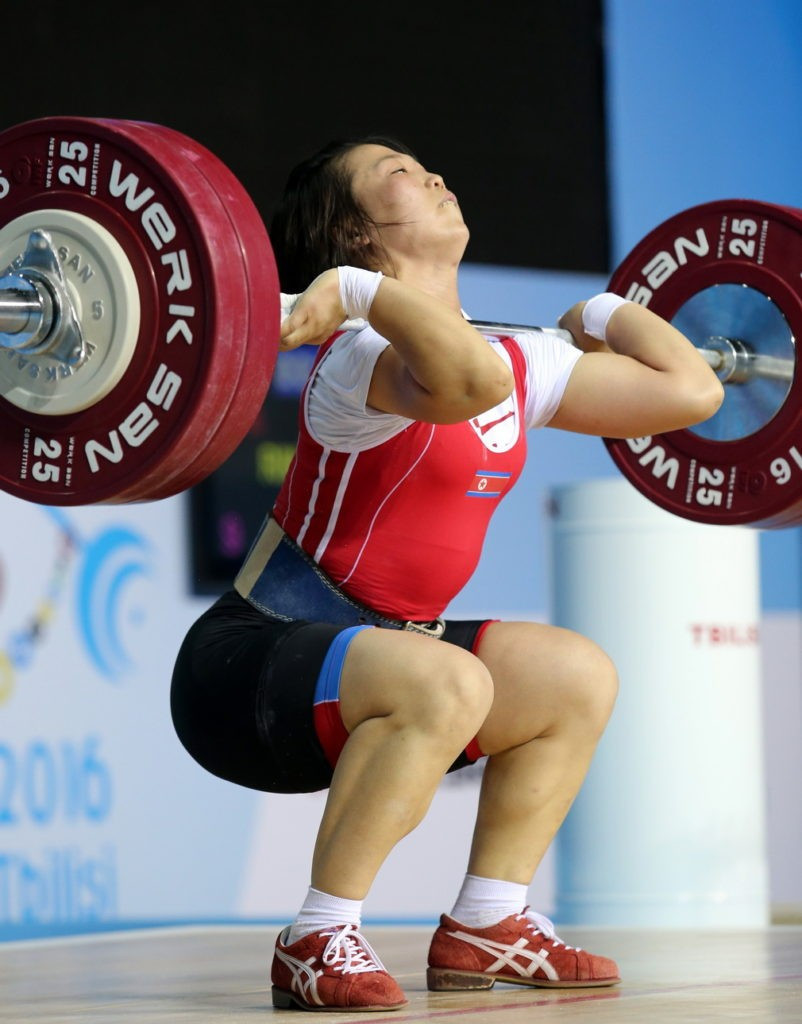 North Korea's Rim Un Sim won all three gold medals in the women's 63kg category ©IWF