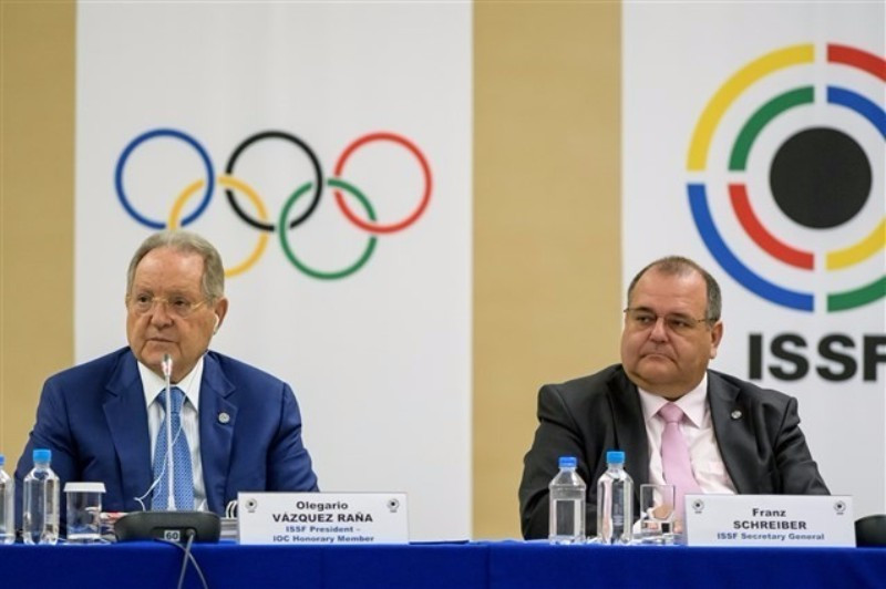 Olegario Vazquez Raña (left) speaking as the ISSF General Assembly opened today in Moscow