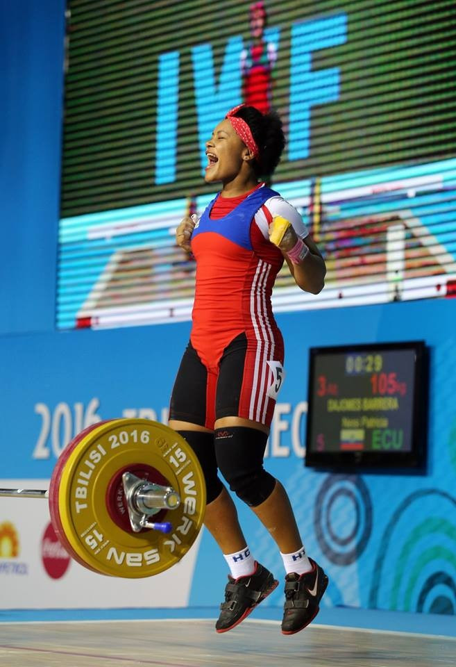 Ecuador's Neisi Patricia Dajomes Barrera won the women's 69kg snatch and clean and jerk to claim overall gold with relative ease at the IWF Junior World Championships in Tbilisi ©IWF/Facebook