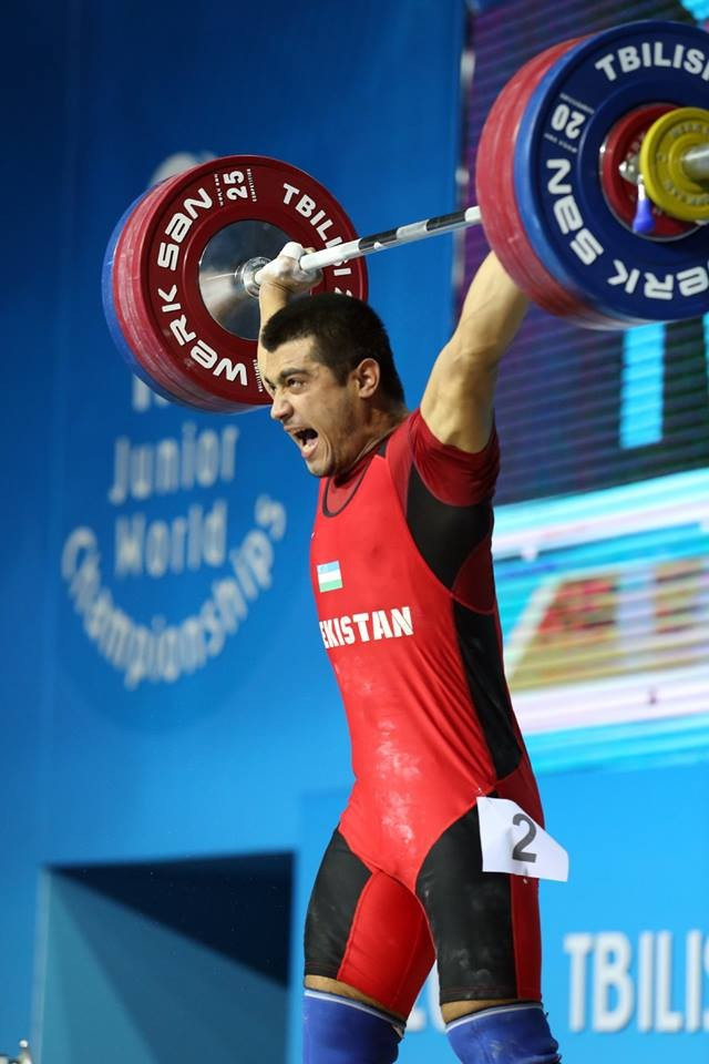 Farkhodbek Sobirov won silver medals in the men's 94kg snatch and clean and jerk to take overall gold ©IWF/Facebook