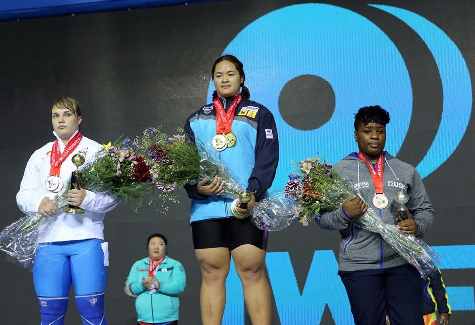 Thailand's Duangaksorn Chaidee (centre) held off a strong challenge from home favourite Anastasiia Hotfrid (left) to win the women's over 75kg title on the final day of action at the IWF Junior World Championships in Tbilisi ©IWF