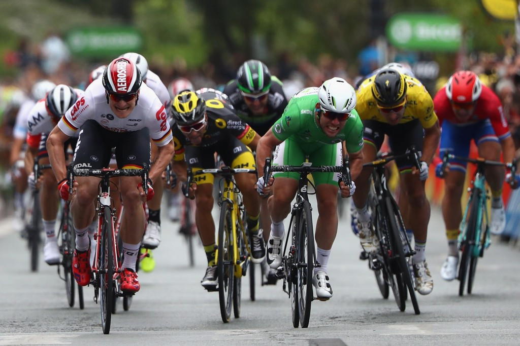 Cavendish draws level with Hinault after edging Greipel to stage three win at Tour de France
