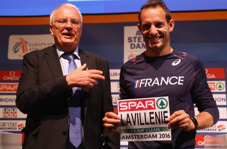 Olympic pole vault champion Renaud Lavillenie, pictured alongside European Athletics President Svein Arne Hansen displaying the name bibs which bear the words