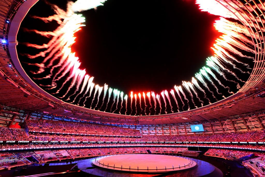 A capacity crowd of 68,000 were packed in Baku's Olympic Stadium for the Opening Ceremony ©Getty Images