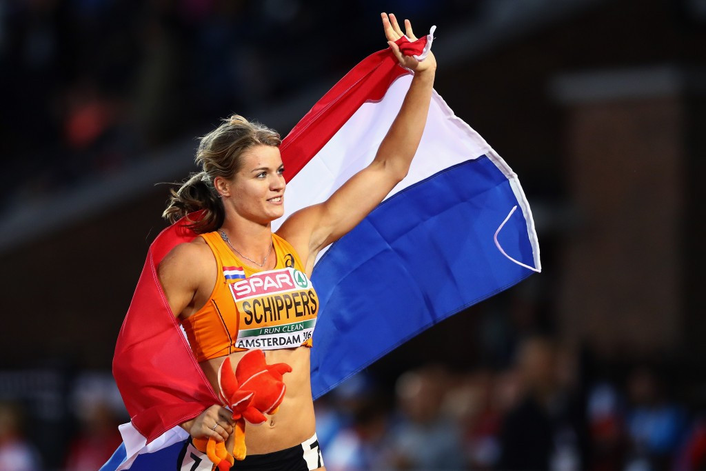 Dafne Schippers celebrates after winning European 100m gold on the home soil of Amsterdam ©Getty Images