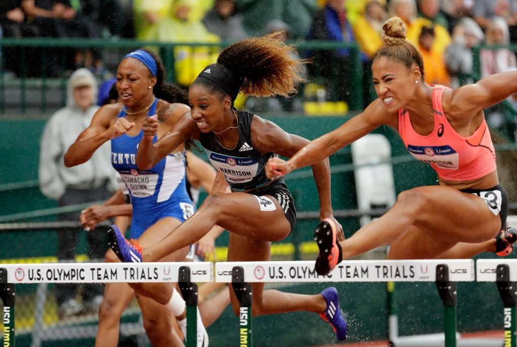 Kendra Harrison, centre, failed to make the US team for the Rio Olympics despite running the second fastest time recorded earlier this year in Eugene ©Getty Images