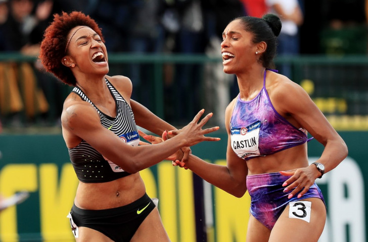 US trials women's 100m hurdles winner Brianna Rollins, left, and runner-up Kristi Castlin celebrate a good job ©Getty Images