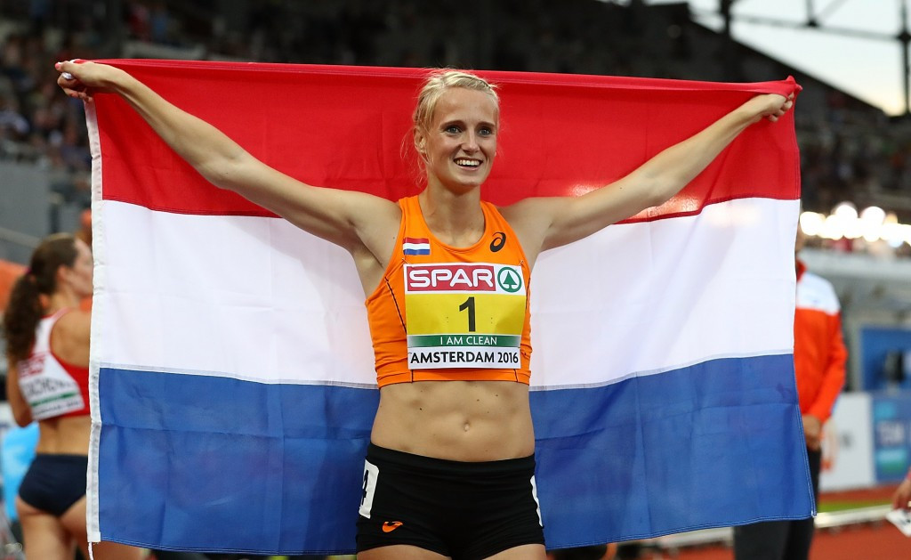 Heptathlete Anouk Vetter keeps up the Dutch gold standard at Amsterdam 2016 ©Getty Images