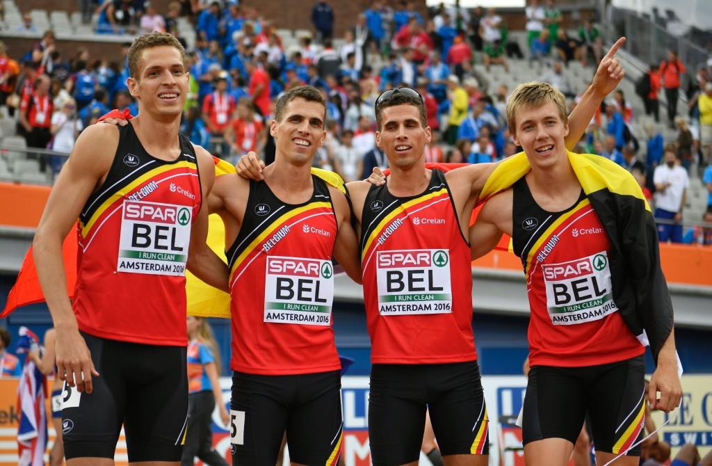 Belgium celebrate their last gasp gold medal in the 4x400m relay ©Getty Images