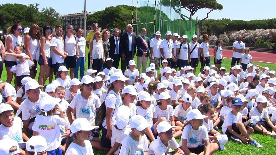 The meeting took place during a ceremony to open a new athletics track ©Rome 2024