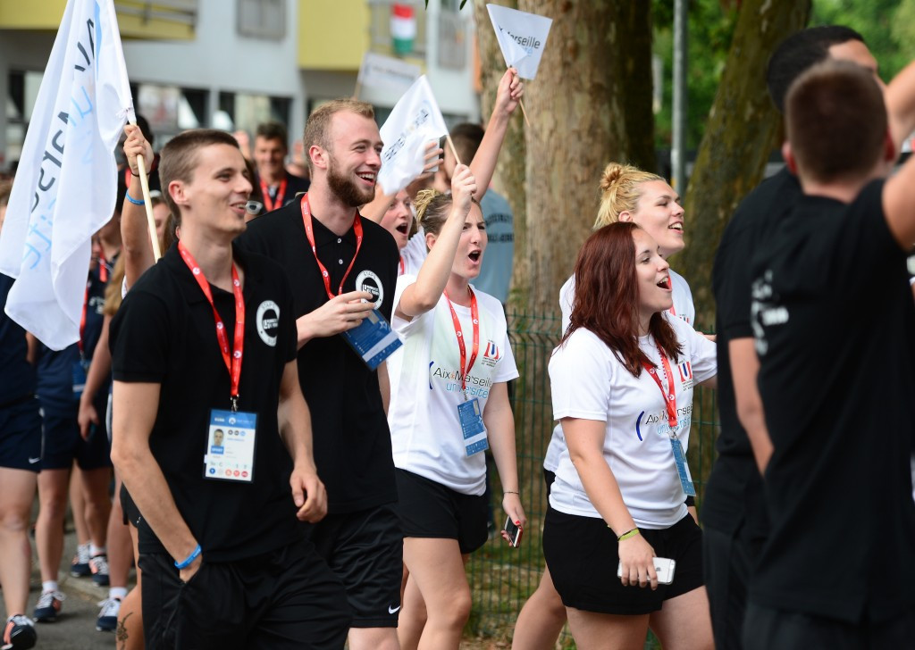 Students from all across Europe participated in the ceremonial parade ©European Universities Games