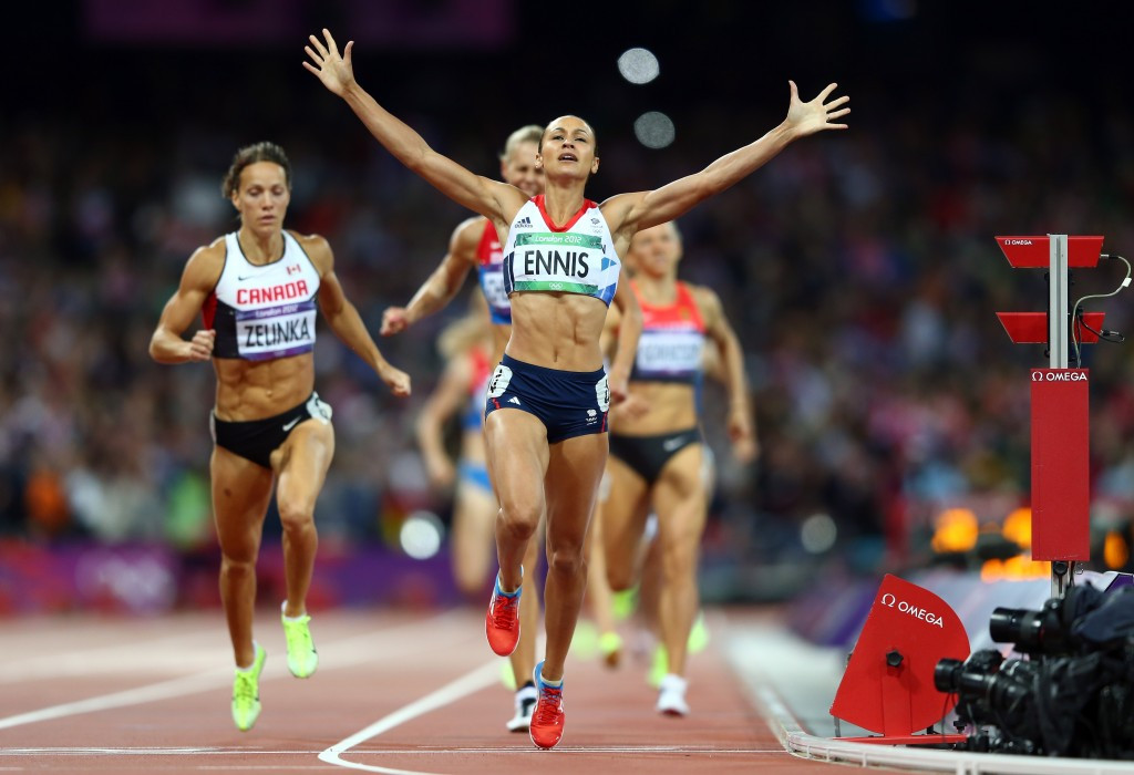 Jessica Ennis-Hill's heptathlon win from London 2012 was showcased at Piccadilly Lights earlier today ©Getty Images