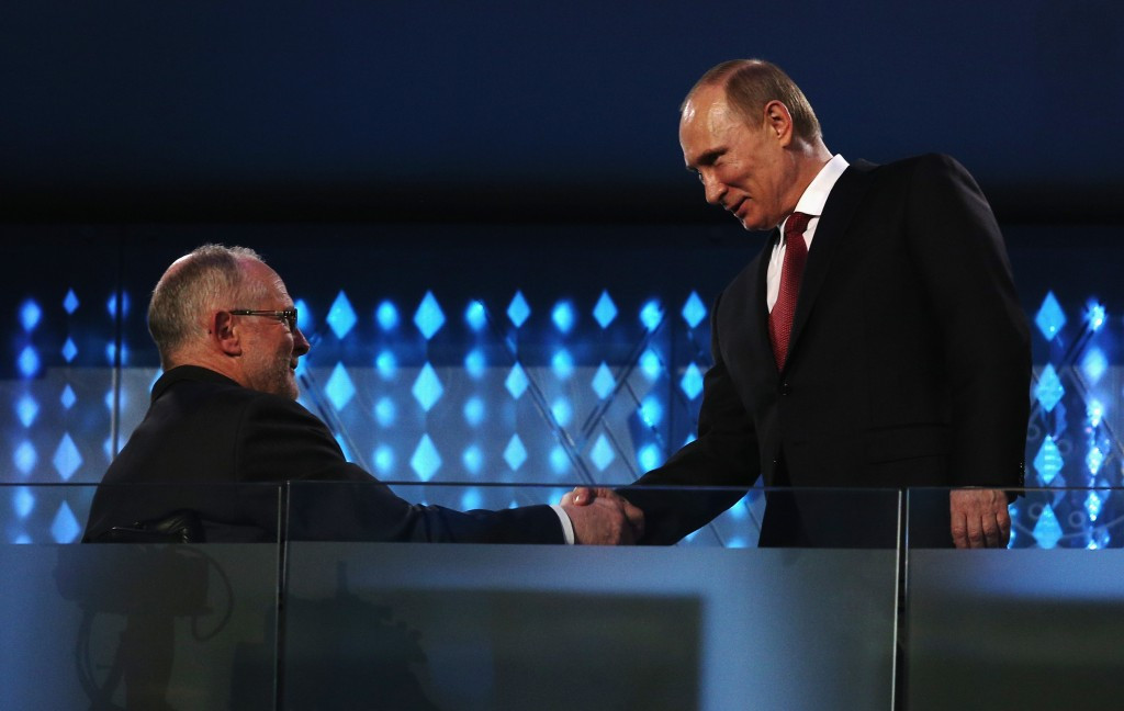 IPC President Sir Philip Craven, pictured here shaking hands with Russian President Vladimir Putin during the Sochi 2014 Paralympic Games Closing Ceremony, said the findings of the McLaren Report mark a very dark day for sport ©Getty Images