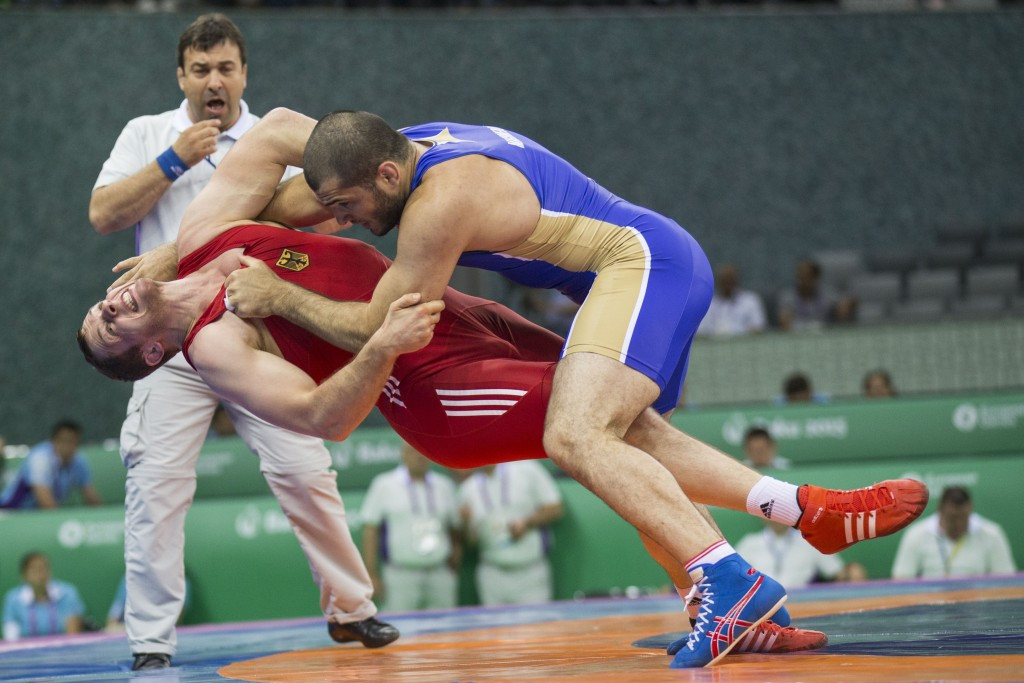 Russia bag gold medal hat-trick on opening day of Baku 2015 Greco-Roman wrestling action