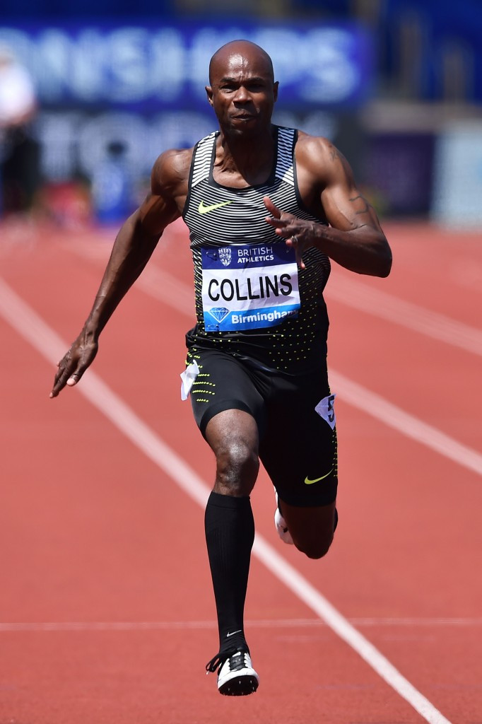 Kim Collins, pictured en-route to 100m victory at last month's Birmingham Diamond League meeting, has been cleared to compete in a fifth Olympics ©Getty Images