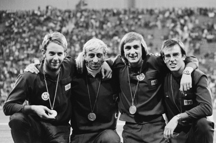 Alan Pascoe (second right) pictured with fellow 4x400m silver medallists (from left) David Jenkins, David Hemery and Martin Reynolds at the 1972 Munich Games, was one of only three British winners in the 1975 match against East Germany in Dresden ©Getty Images