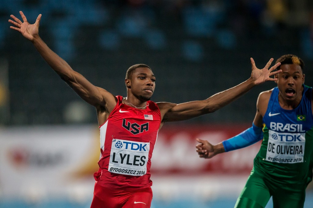 Lyles powers to world junior 100m title as Germany claim two titles in Bydgoszcz