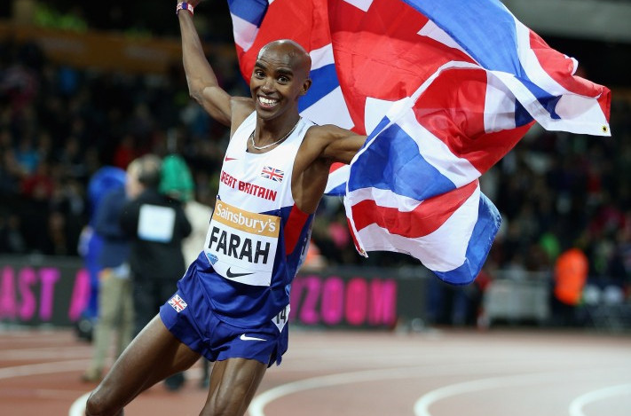 Mo Farah, pictured celebrating 3,000m victory at last year's Sainsbury's Anniversary Games in the London 2012 Olympic Stadium, is hoping for another win on the same track tomorrow in the 5,000m ©Getty Images