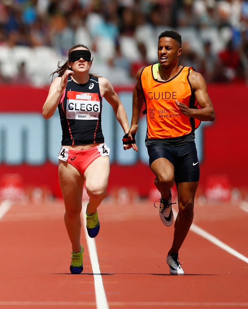 British Paralympian Libby Clegg sprints to T11 200m victory in a world record of 24.44 in the Muller Anniversary Games in London ©Getty Images