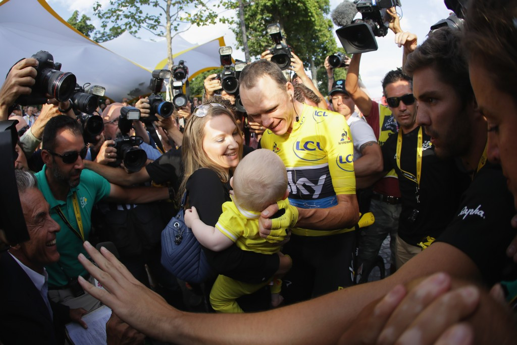Chris Froome dedicated his victory to his son before paying tribute to the victims of the Nice terrorist attack ©Getty Images