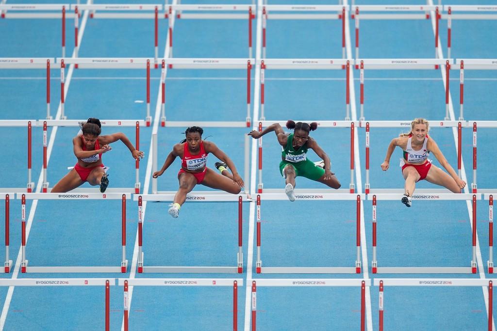 Elvira Herman of Belarus won a close-fought women's 100m hurdles race ©Getty Images