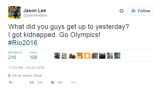 Jason Lee confirmed he had been kidnapped on Twitter ©Jason Lee/Twitter