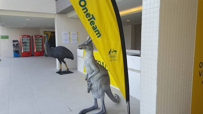 A kangaroo and an emu outside the Australian section of the Athletes' Village ©Getty Images