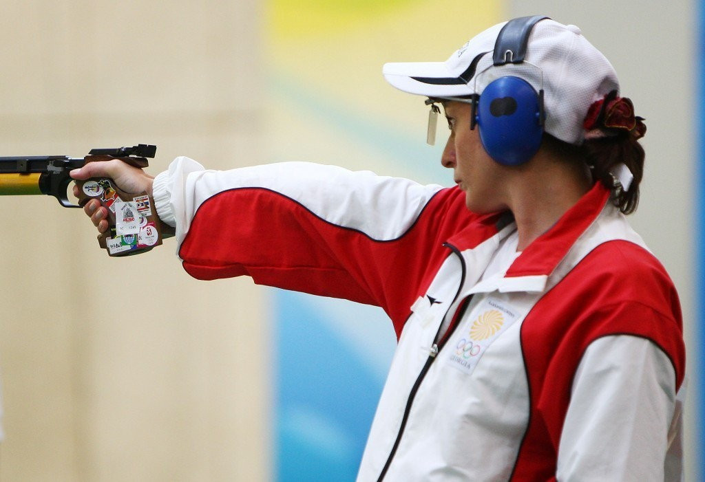 Nino Salukvadze, who will compete for Georgia in the shooting event at Rio 2016 along with her son Tsotne Machavariani, one of the great stories that has already emerged from this summer's Olympics ©Getty Images