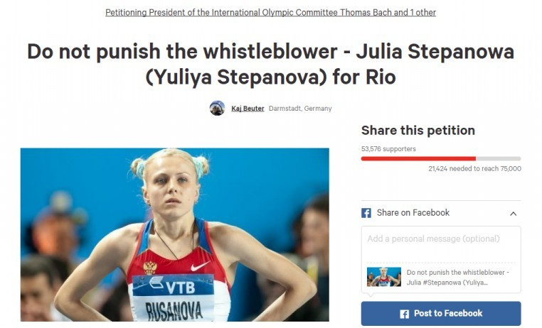 Backing for Stepanova as petition to let whistleblower run at Rio 2016 reaches more than 50,000