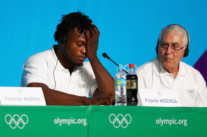 Popole Misenga shows his emotions while talking about how conflict in his native Democratic Republic of Congo affected his family at a conference ahead of his appearance for the Refugee Olympic Team in Rio 2016 ©Getty Images