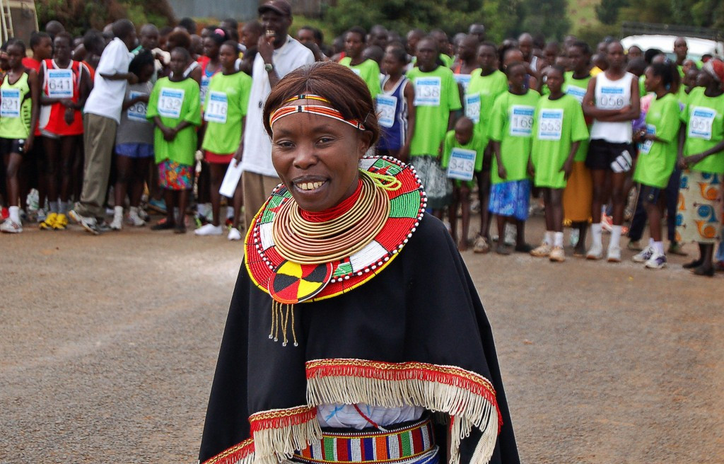 Tegla Loroupe at the start of the annual Peace Race she organises in north-west Kenya ©Getty Images