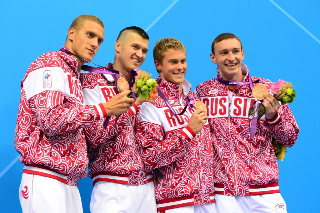 Nikita Lobintsev, second left, and Vladimir Morozov, second right, were part of the Russian 4x100 metres relay team that won Olympic bronze medals at London 2012 ©Getty Images