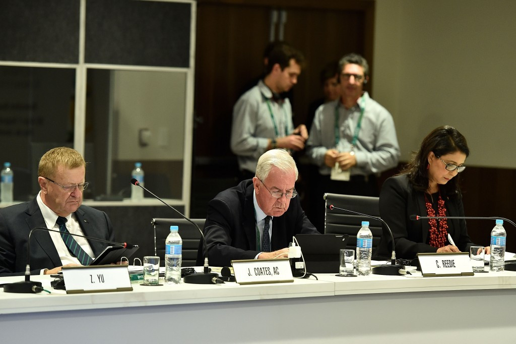 Court of Arbitration for Sport President John Coates, left, and World Anti-Doping Agency counterpart Sir Craig Reedie, centre, during today's IOC Executive Board meeting in Rio de Janeiro ©Getty Images