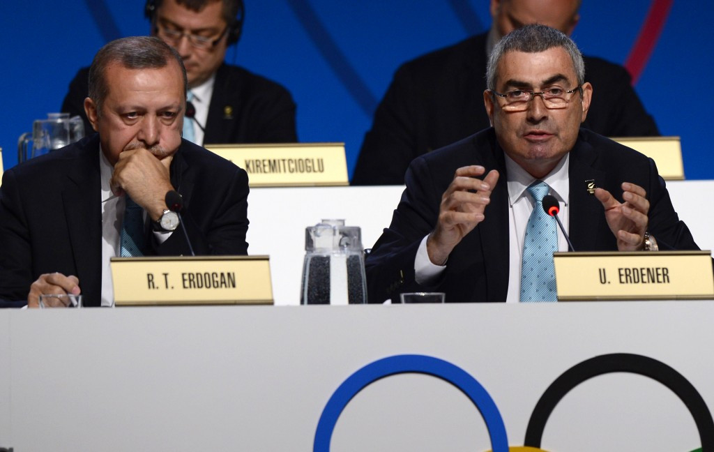 Uğur Erdener, right, alongside Turkish President Recep Tayyip Erdoğan at the 2013 IOC Session, is among a three-strong panel which will decide on the eligibility of Russian athletes for Rio 2016 ©Getty Images