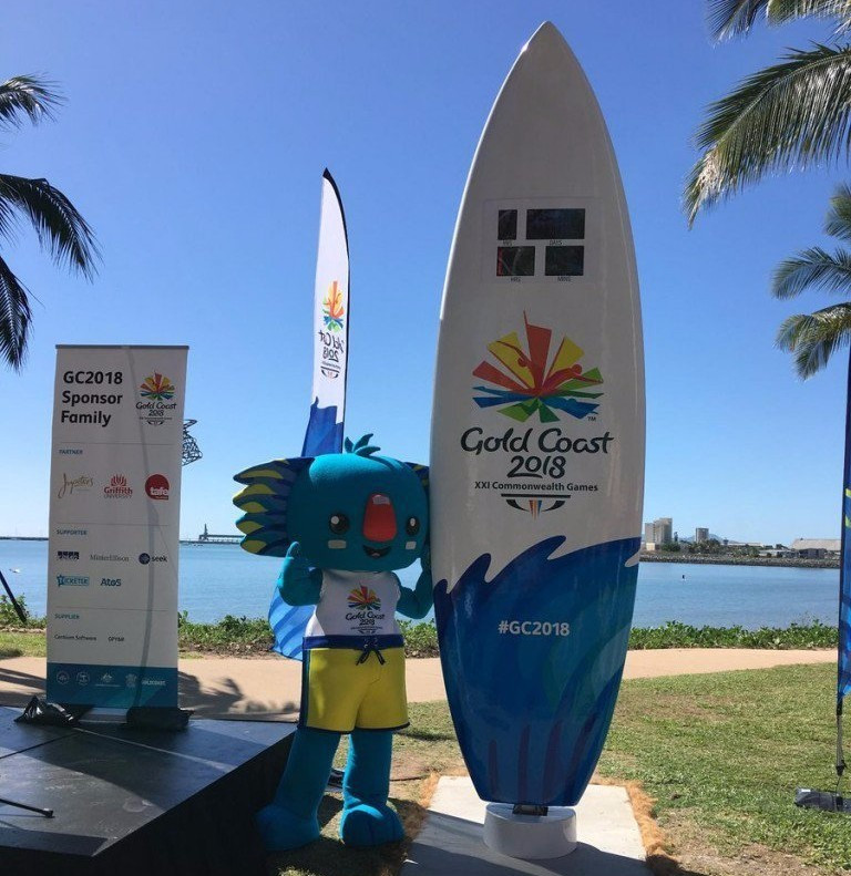 A surfboard-shaped clock which will count down to the Gold Coast 2018 Commonwealth Games has been unveiled in Townsville ©Gold Coast 2018