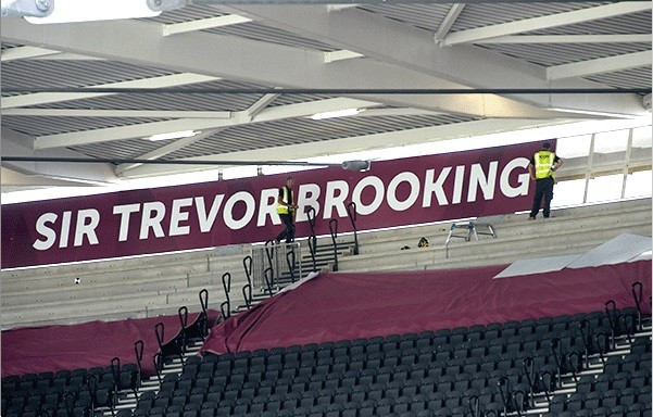 Two sides of the Olympic Stadium in London have been named after West Ham United legends Bobby Moore and Sir Trevor Brooking ©WHUFC