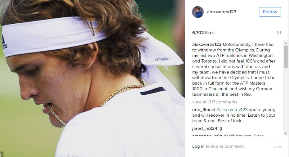 Alexander Zverev has withdrawn from the men's singles competition ©Instagram