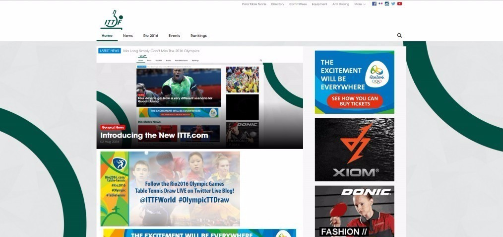 International Table Tennis Federation launches new website