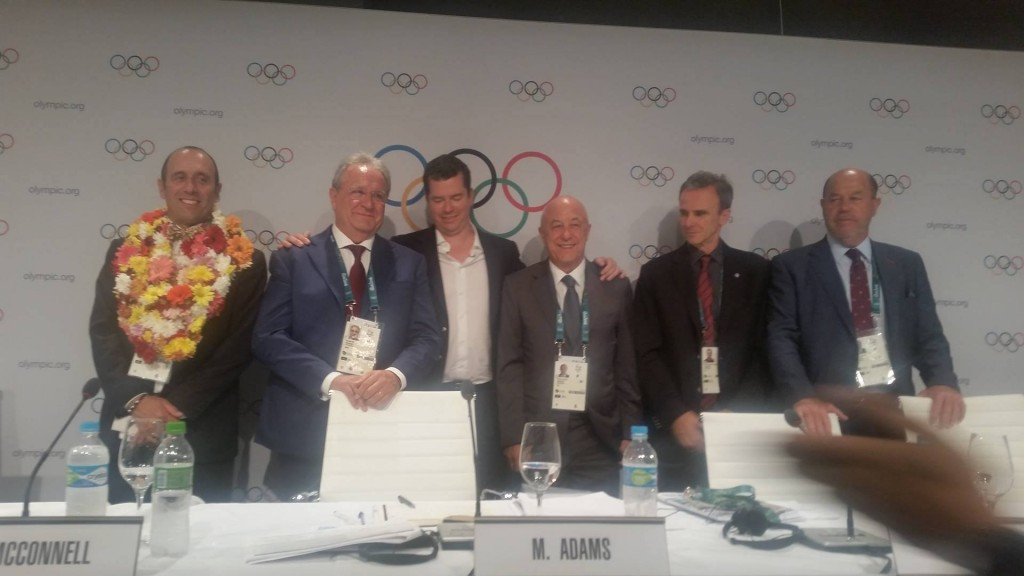 Officials from the five sports added to the Olympic programme pose with the IOC Sports Director ©ITG