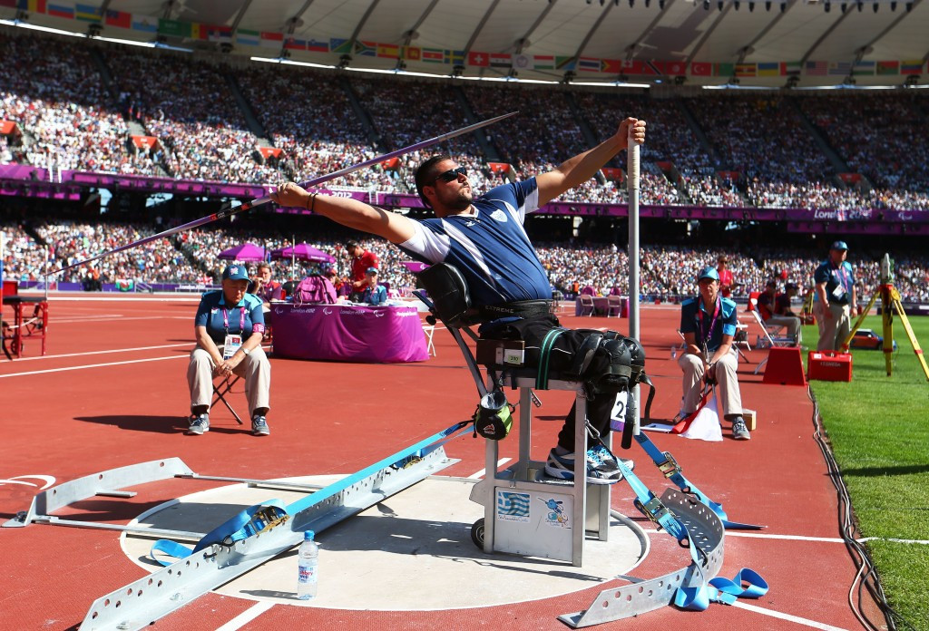 Manolis Stefanoudakis of Greece was also in record-breaking form as he won the men's F54 men's javelin