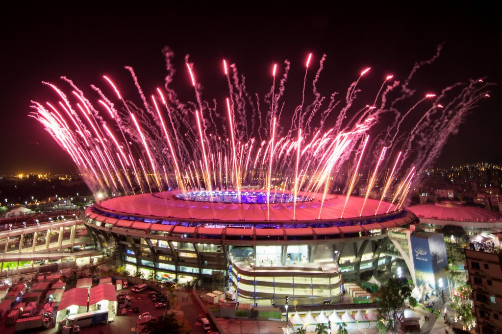 Fireworks erupt over the Maracanã in happier times during the Opening Ceremony of Rio 2016 ©Getty Images
