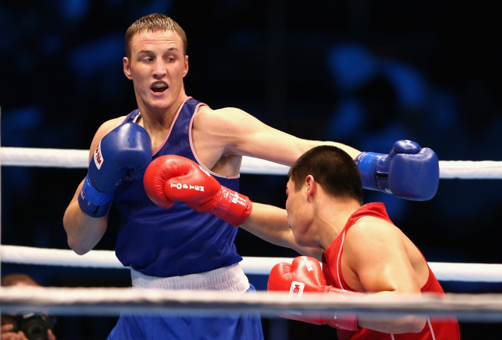 Irish boxer Michael O'Reilly, in blue, was the first athlete to be linked with a positive drugs test at Rio 2016 ©Getty Images